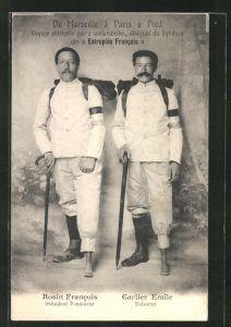 AK Expedition, De Marseille a paris a Pied, Die Gehbehinderten Rosin Francois und Carlier Emile