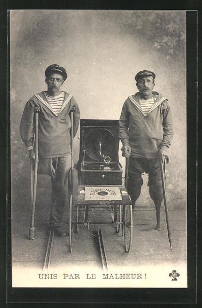 AK Zwei Behinderte mit Grammophon