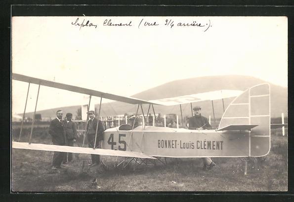 AK Flugpionier Louis Clément an seinem Flugzeug