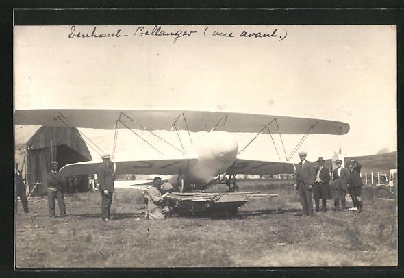AK Flugpionier Bellanger bei Startvorbereitungen an seinem Flugzeug