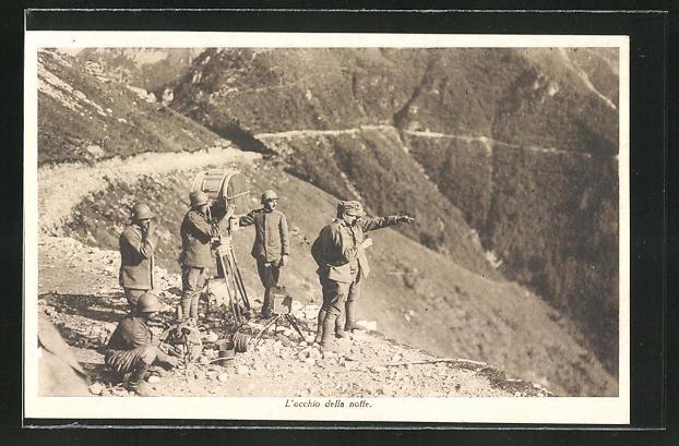 AK Gebirgsjäger mit einer Signallampe, Infanterie