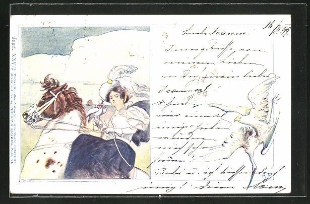 Künstler-AK Philipp + Kramer: Jägerin mit Hut auf einem Pferd und Tauben