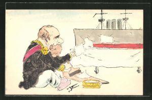 AK Russisch-Japanischer Krieg, gestrandeter Soldat macht einen Anstrich