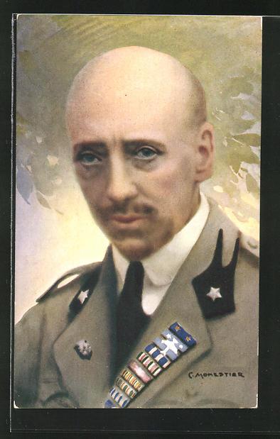 Künstler-AK C. Monestier: Portrait Gabriele d'Annunzio in Uniform