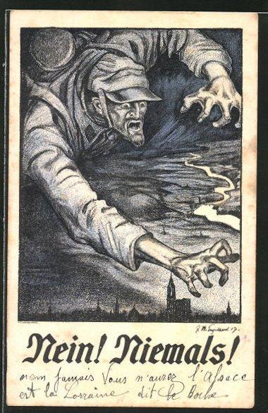 Künstler-AK sign. Engelhard: Soldat über der Stadt, Propaganda 1. Weltkrieg