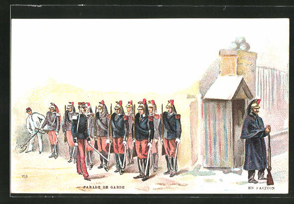 AK Parade de Garde, En Faction, Kavallerie mit Raupenhelm