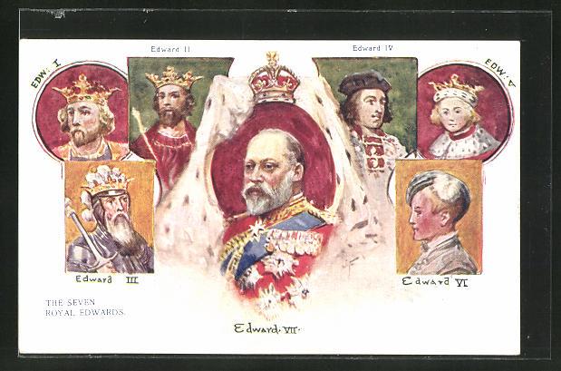 Künstler-AK Könige von England, Edward VII., Edward III., Edward IV.