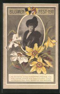 AK Blumenfest 1911 zu Gunsten eines Krüppelheims, Unter Protektorat der Grädin von Wedel