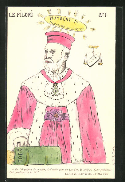 Künstler-AK Karikatur des französischen Justizministers Humbert