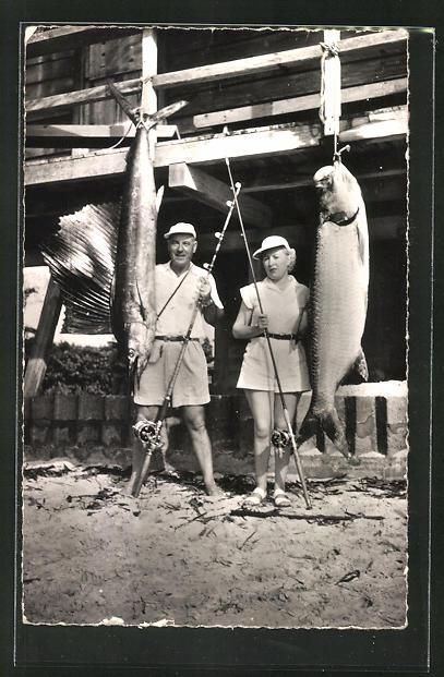 AK Port-Gentil, Syndicat d'Initiative, la Peche sportive: Sailfish et Tarpon, Angler mit Fang