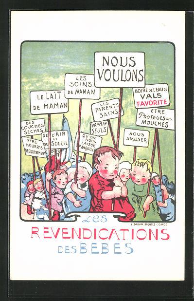 Künstler-AK Les Revendications des Bebes, Babys als Demonstraten