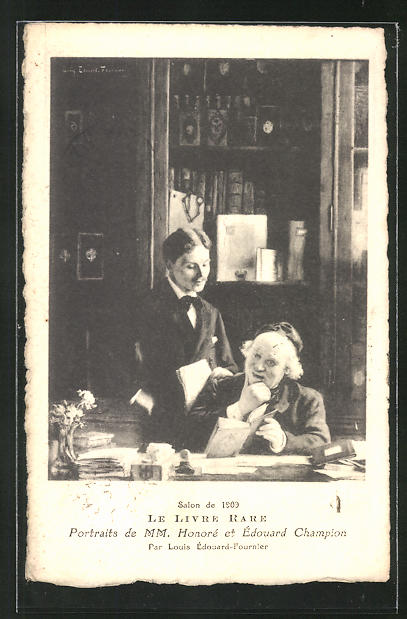 AK Salon 1909, Le Livre Rare, Portraits de MM. Honore et Edouard Champion