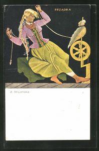 Künstler-AK Zofia Stryjenska: Blondes Mädchen mit geflochtenem Zopf am Spinnrad