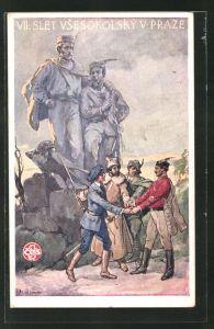 Künstler-AK Praze, VII. Slet Vsesokolsky 1920, Turner, Sokol