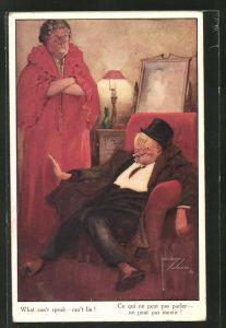 Künstler-AK Lawson Wood: Trinker im Sessel und wütende Frau