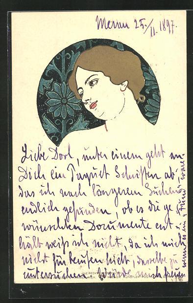 Künstler-AK Philipp + Kramer: Portrait einer schönen Frau mit träumerischem Gesichtsausdruck, Jugendstil