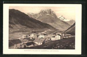 AK Splügen, Panorama mit Guggernüll und Einhorn