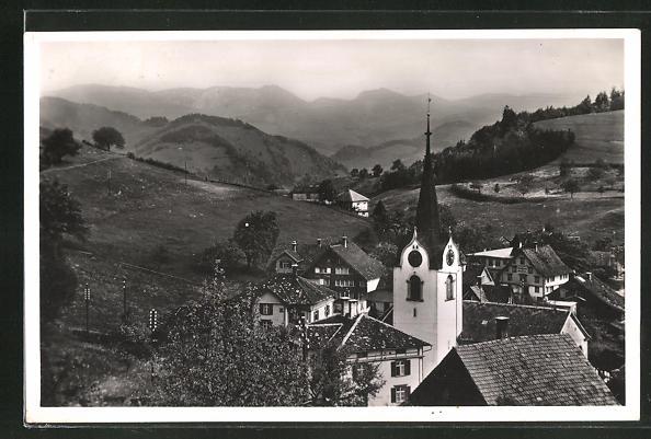 AK Oberhelfenschwill, Ortspartie mit Kirche