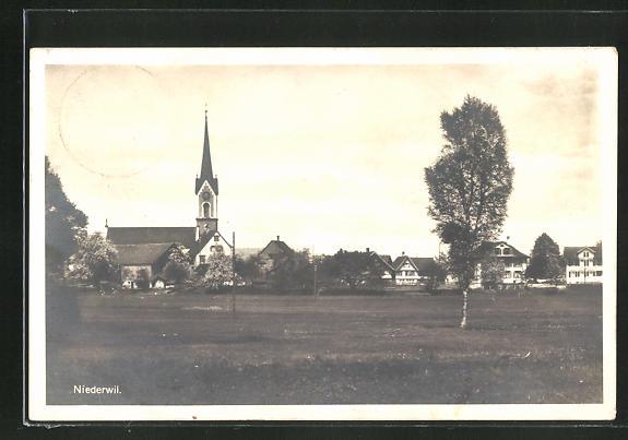 AK Niederwil, Ortspartie mit Kirche