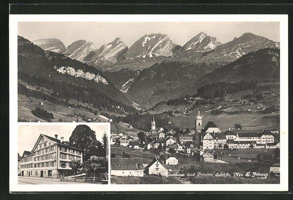 AK Neu St. Johann, Ortsansicht, Gasthaus und Pension Schäfle