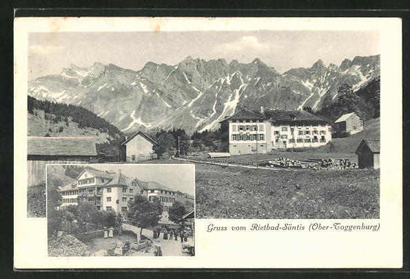 AK Rietbad-Santis / Ober-Toggenburg, Ortsansicht mit Bergen, Ortspartie