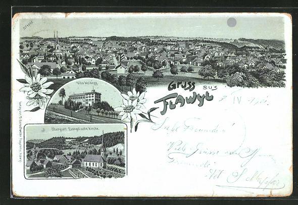 Mondschein-Lithographie Flavil, Ortsansicht, Oberglatt Evangelische Kirche, Villa Weidegg