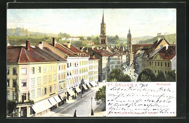 AK St. Gallen, Blick auf die Marktgasse