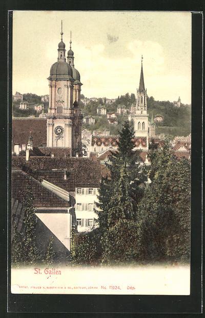 AK St. Gallen, Ortspartie aus der Vogelschau