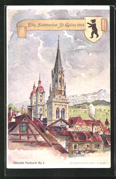 AK St. Gallen, Teilansicht mit Kirchturm aus der Vogelschau
