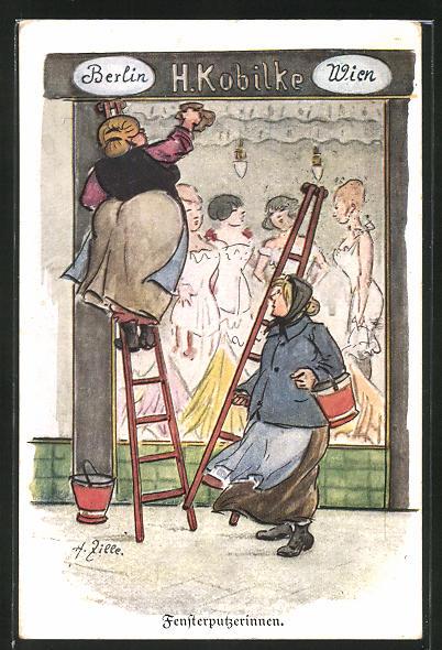 Künstler-AK Heinrich Zille: Berlin, Fensterputzerinnen bei der Arbeit am Damenmodengeschäft H. Kobilke