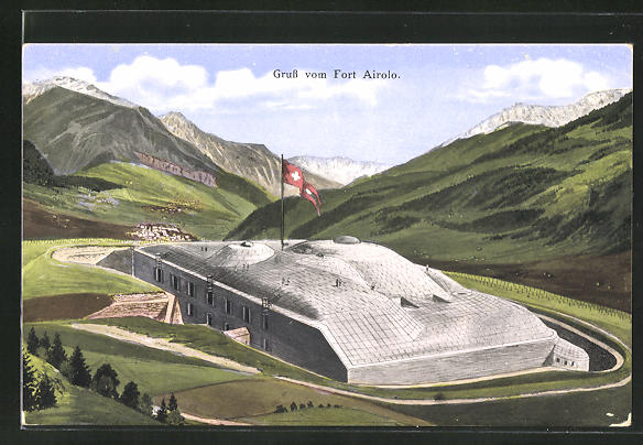 AK Airolo, Blick auf den Fort Airolo