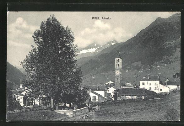 AK Airolo, Ortspartie mit Kirche
