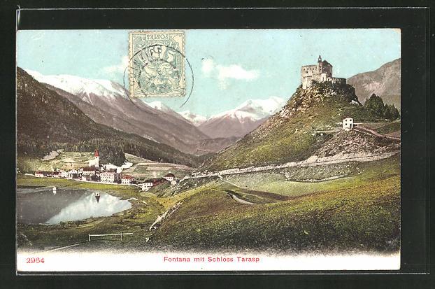 AK Fontana, Panorama mit Schloss Tarasp