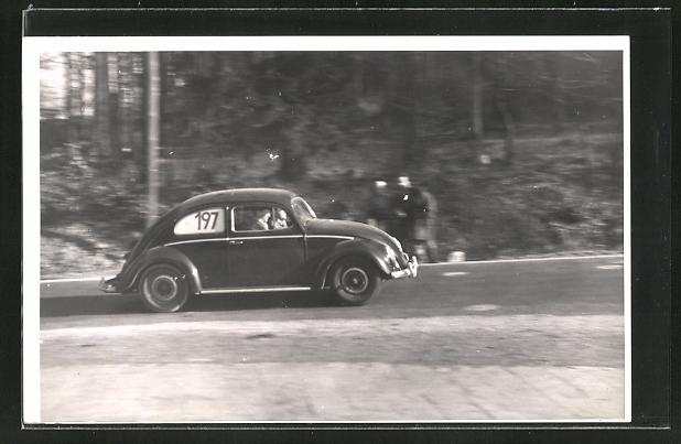Foto-AK Autorennen, VW Käfer mit Startnummer 197