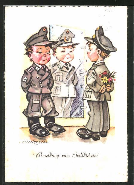 Künstler-AK Hanitzsch, Abmeldung zum Stelldichein!, Soldatenhumor, Bundeswehr