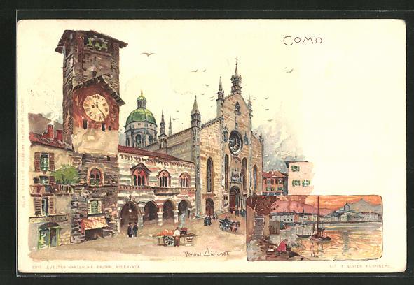 Künstler-AK Manuel Wielandt: Como, Ortspartie mit Turmuhr