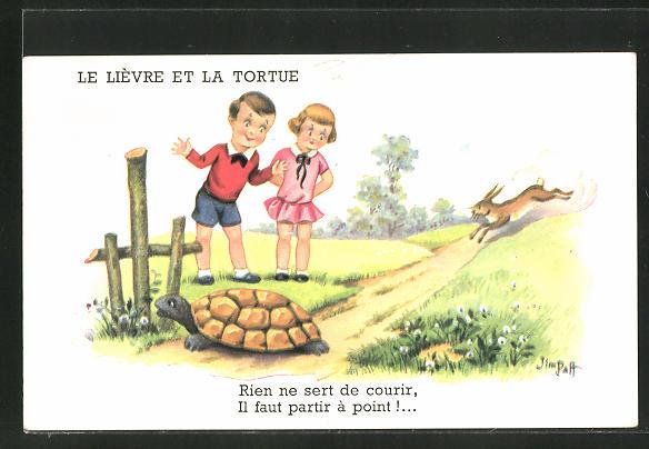 Künstler-AK sign. Jim Palt: Kleiner Junge und kleines Mädchen mit Schildkröte und einem Hasen