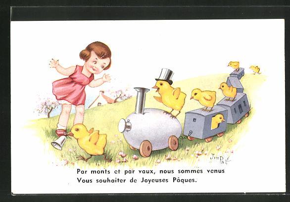 Künstler-AK sign. Jim Palt: Kleines Mädchen mit Bahn und Küken
