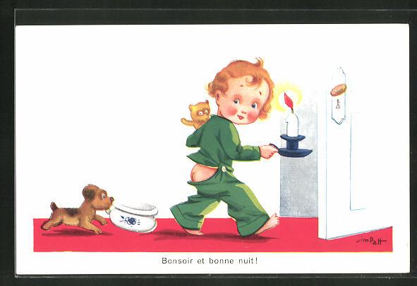 Künstler-AK sign. Jim Palt: Kleiner Junge mit Kerze und Hund mit Nachttopf