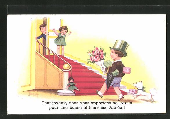 Künstler-AK sign. Jim Palt: Kleiner Junge mit Zylinder und Blumen mit Mädchen