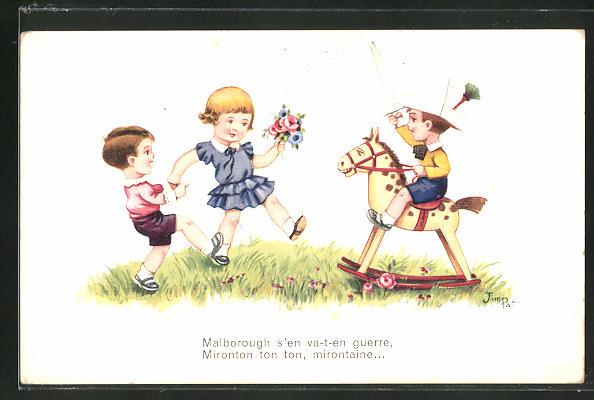 Künstler-AK sign. Jim Palt: Kleiner Junge mit Papierhut und Spielzeugpferd mit anderen Kindern