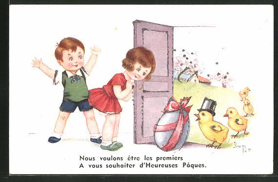 Künstler-AK sign. Jim Palt: Kleiner Junge mit Mädchen und Osterküken, Ostergruss mit Glitzerperlen
