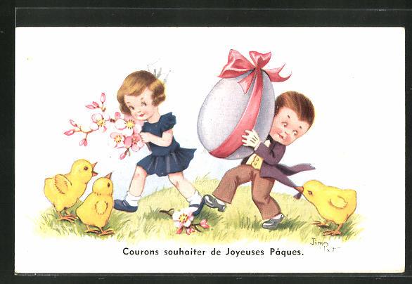 Künstler-AK sign. Jim Palt: Junge und Mädchen mit Osterei und Küken, Ostergruss