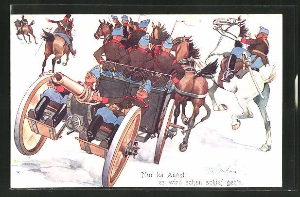 Künstler-AK Fritz Schönpflug: Soldaten in Uniform auf einem Pferdewagen mit Kanone