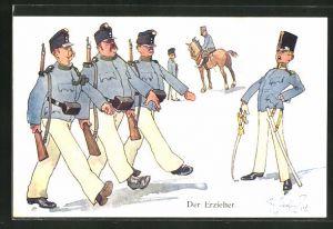 Künstler-AK Fritz Schönpflug: Soldaten beim Stechschritt