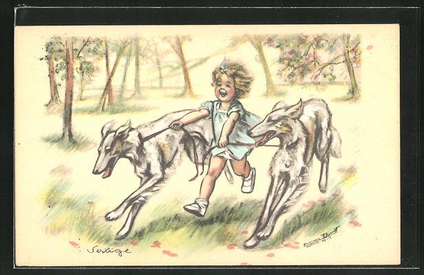 Künstler-AK Germaine Bouret: Mädchen mit Hunden