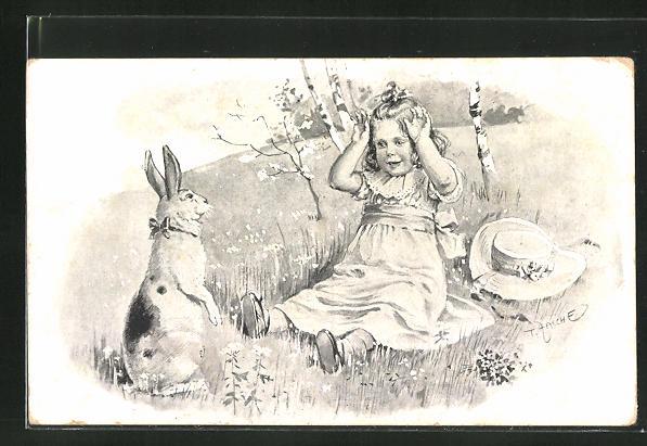 Künstler-AK Theo Zasche: Kleines Mädchen und Osterhase
