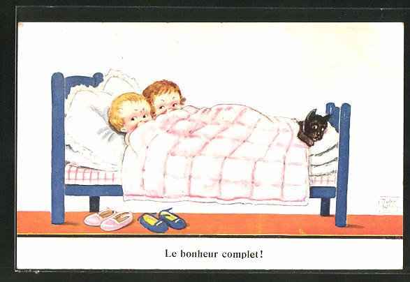 Künstler-AK John Wills: Mädchen und Junge im Bett