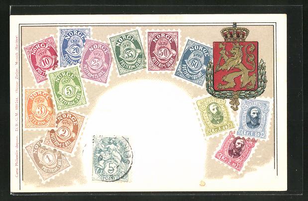 Prägelithographie-AK Norwegen, Briefmarken und Wappen