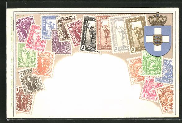Prägelithographie-AK Griechenland, Briefmarken und Wappen